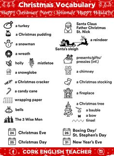 English is FUNtastic: Christmas Vocabulary English Tips, English Idioms, English Study, English Words, English Lessons, English Vocabulary, Learn English, English Language, English Dictionery