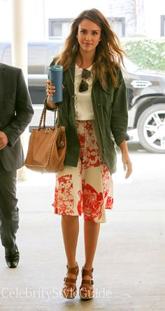 Seen on Celebrity Style Guide: Actress, Jessica Alba, made a quick run to Whole Foods wearing this chic large-floral-print skirt, with an army jacket and beach wavy hair paired with wedge sandals. She then headed to the New School of Cooking in Culver City to cook her recent purchases from Whole Foods and learn new recipes for hubby Cash Warren June 8,   Get Here Skirt Here: http://rstyle.me/~26RU8