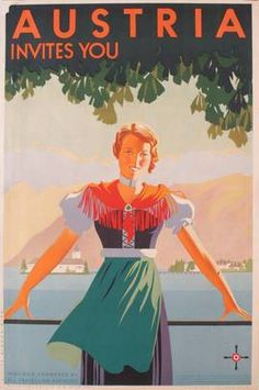 'Austria Invites You' Poster #vintage #travel #poster