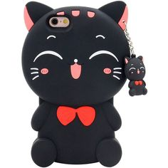 iPhone 6S Plus Case, MC Fashion 3D Laughing Cat Kitty with Cute Bow... ($3.69) ❤ liked on Polyvore featuring accessories, tech accessories and phone