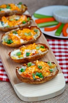 Buffalo Chicken Potato Skins - Super Yummy Recipes - http://masterforks.com/buffalo-chicken-potato-skins-super-yummy-recipes/