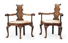 A PAIR OF GEORGE I MAHOGANY CORNER OPEN ARMCHAIRS  EARLY 18TH CENTURY