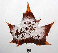 Пациент прав - Невероятное искусство – картины на листьях деревьев. Резьба по листьям