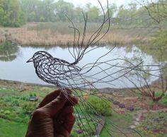Wren Wire Sculpture in Process by Ruth Jensen, via Flickr 20 gauge wire