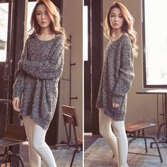 women Batwing Sleeve Knitted Sweater Tops Cardigan Loose Outwear Coat Grey lates