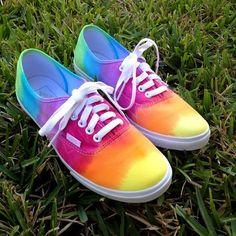 Tie Dye Rainbow Vans $89 ... I wonder if I could make my own?