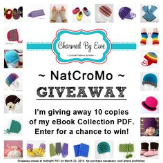 NatCroMo eBook Giveaway on Charmed By Ewe! Enter to win & then go check out her new FREE pattern.