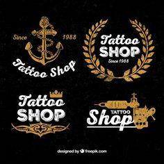 Vintage tattoo shop logos  Free Vector