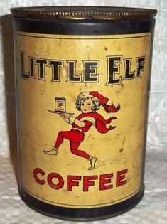 Vintage Little Elf Coffee Tin Vintage Stil, Vintage Coffee, Vintage Antiques, Vintage Baking, Vintage Kitchen, Coffee Tin, Coffee Maker, Coffee Machine, Tin Containers