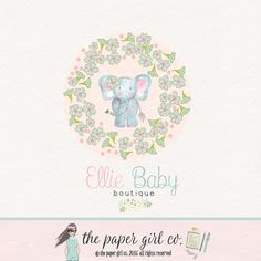 elephant logo design baby boutique logo by ThePaperGirlCo on Etsy