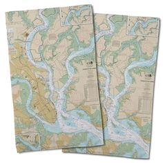 Nautical Chart Charleston, SC Hand Towel