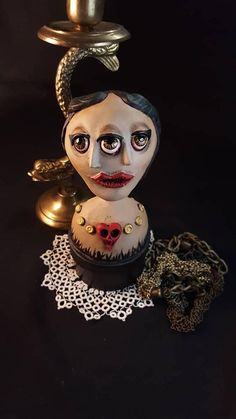 Whimsical Three Eyed Girl on keepsake box. Folk Art Figurine, One of a Kind Vintage Inspired Three Eyed Girl Paper Clay Sculpture. From the bygone age of Sideshows and oddities this three eyed girl will keep your secrets safe. This is sculpted by hand and One Of A Kind. Since no