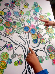 Collaborative art - this can be a great early finisher project over a few weeks - have circles of different sizes ready to go - students grab one and put it on the tree once finished....