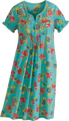 April Cornell Turquoise Floral Nightgown: Let April Cornell's Sun-Kissed Cotton Gauze Nightgown Wash Its Island Beauty Over You Washi Dress, Summer Outfits Women, Summer Dresses, Kurti Embroidery Design, Night Dress For Women, Floral Gown, House Dress, African Print Fashion, Maternity Dresses