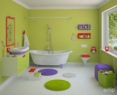 Детская ванная комната: интерьер, зd визуализация, квартира, дом, санузел, ванная, туалет, современный, модернизм, 10 - 20 м2, интерьер #interiordesign #3dvisualization #apartment #house #wc #bathroom #toilet #modern #10_20m2 #interior arXip.com
