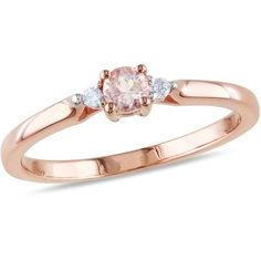 Sofia B 1/6 CT TW Morganite Rose-Plated Sterling Silver 3-Stone Ring with Diamond Accents