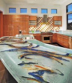 Amazing Glass Tops for Cool and Unusual Kitchen Designs from ThinkGlass : Glass Tops For Cool And Unusual Kitchen Designs From ThinkGlass With White Kitchen Wall Cabinet Sink Oven Stove Countertops Window And Ceramic Floor Kitchen Wall Cabinets, Glass Kitchen, Kitchen Countertops, Epoxy Countertop, Concrete Counter, Boho Kitchen, Kitchen Tops, Recycled Glass Countertops, Custom Countertops