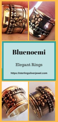 Bluenoemi Israeli Spinner Rings for Women / Men Silver & Gold - New Meditation Rings, Spinner Rings, Romantic Flowers, Class Ring, Elegant, Silver, Gold, Jewelry, Products