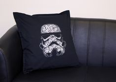 STAR WARS: This design is inspired by the infamous Stormtrooper helmet.  The entire design is made up of the opening text from Star Wars with 2 tones of grey and a white to give depth to the design.