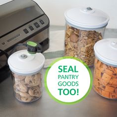 Dry foods and snacks deserve to stay fresh too. Seal and save your family's favorites with FoodSaver® Canisters to keep them from going stale in your pantry. Water Storage, Food Storage, Storage Ideas, Kitchen Hacks, Kitchen Ideas, Hot Water Bath Canning, Food Saver Vacuum Sealer, Oven Canning, Freeze Drying Food