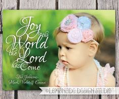 Photo Christmas Cards - Joy to the World the Lord has Come - Script Font - Elegant - Printable File