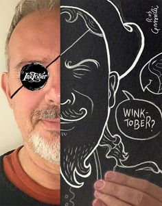 INKtober 2016/2: Winktober! (wink = occhiolino) #inktober #inktober2016 #winktober #disegniGrassilli #wink  #eyepatch #drawing #illustration #illustrations #pirate #whiteink #cardboard