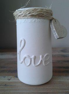 oude augurken pot, de grote letters heb ik er met een lijmpistool opgemaakt…