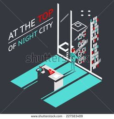 Businessman at the top of a night city in Penthouse office workroom with laptop and documents isometric flat design concept vector illustration