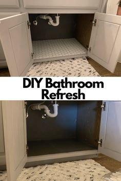 DIY Bathroom Refresh - Bathroom refresh on a budget using peel and stick tiles. Stick On Tiles Bathroom, Diy Bathroom, Bathroom Hacks, Old Bathrooms, Simple Bathroom, Basement Bathroom, Bathroom Renovations, Home Renovation, Bathroom Ideas