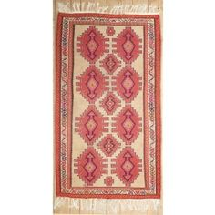 Handmade Rectangular Persian Afshar Area Rug in Beige with Red Accents, 7x9 area rug