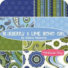 Blueberry & Lime Boho Girl Fat Quarter Bundle Debra Valencia of Insights for Wilmington Prints