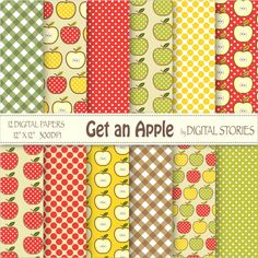 Get An Apple Digital Scrapbook Paper Pack  Red by DigitalStories, €2.60