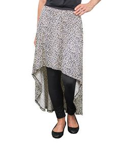 Look what I found on #zulily! Black & White Leopard Hi-Low Skirted Leggings - Women & Plus #zulilyfinds