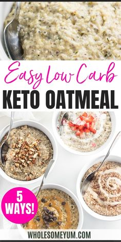 Easy Low Carb Keto Oatmeal Recipe - Learn how to make keto oatmeal 4 ways - maple pecan, strawberries & cream, chocolate peanut butter, or cinnamon roll - all based on an easy low carb oatmeal recipe with 5 ingredients! #wholesomeyum Keto Diet For Beginners, Recipes For Beginners, Great Recipes, Keto Recipes, Favorite Recipes, Low Carb Oatmeal, 5 Ingredient Recipes, Keto Food List, Oatmeal Recipes