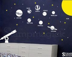 Planets Wall Decal Solar System Vinyl Wall Decor by stampmagick