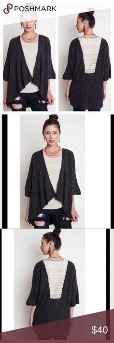 Spotted while shopping on Poshmark: 🎉HOST PICK 🎉Charcoal Lace Back Sweater! #poshmark #fashion #shopping #style #Umgee #Sweaters