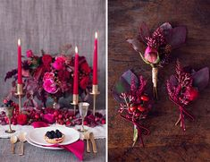 The deep pinks and purples in these floral displays are so beautiful for a Valentine's Day wedding! Purple Wedding, Wedding Colors, Wedding Flowers, Wedding Day, Diy Wedding Decorations, Wedding Themes, Wedding Designs, Valentine Decorations, Purple Table