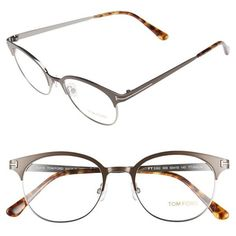 Tom Ford 'FT5382' 50mm Optical Glasses (13 385 UAH) ❤ liked on Polyvore featuring accessories, eyewear, eyeglasses, matte gunmetal, uv protection glasses, retro eyeglasses, tom ford eyeglasses, retro glasses and tom ford glasses