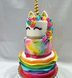 Awesome Birthday Party Ideas for Girls - Unicorn Cake Beautiful Cakes, Amazing Cakes, Mini Cakes, Cupcake Cakes, How To Make A Unicorn Cake, Bolo Tumblr, Torta Candy, Bolo Fack, Unicorn Foods