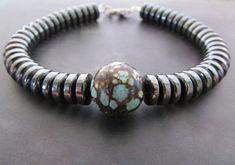Men's+Turquoise+Bracelet+Men's+Hematite+Bracelet