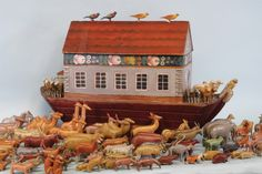 """Erzgebirge Noah's Ark 17"""" - love the birds on the roof and the decorative painting"""