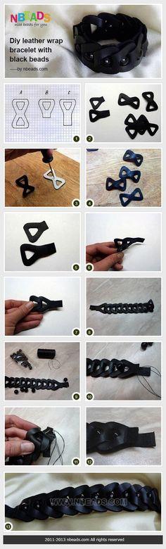 DIY Leather Wrap Bracelet with Black Beads diy crafts craft ideas easy crafts diy ideas easy diy craft jewelry