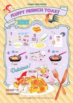 44 New Ideas For Breakfast Food Art French Toast Kawaii Drawings, Cute Drawings, Cartoon Recipe, Fluffy French Toast, Recipe Drawing, Best Breakfast Recipes, Food Drawing, Mini Foods, Food Illustrations
