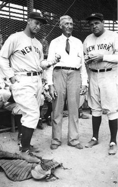 Lou Gehrig, Dick Mayes - fan, Babe Ruth  1934 St. Petersburg FL
