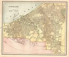1886 Antique CLEVELAND Ohio Map Vintage Map of Cleveland Print