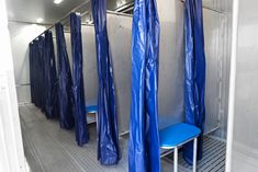 Porta Kleen's Mobile Shower Trailer features 16 private stalls, hot water, and sinks with mirrors. Dressing Area, Showers, Divider, Sink, Curtains, Water, Interior, Home Decor, Sink Tops