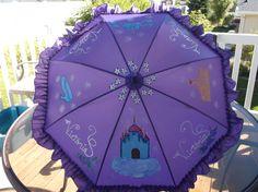 Personalized Ruffled Princess Parasol Umbrella by LoRensRainorShine on Etsy
