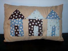 cute beach huts cushion