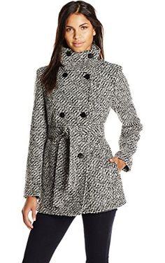 Calvin Klein Women's Double Breasted Wool Coat with Belt, Black White, XX-Small ❤ Calvin Klein Women's Outerwear