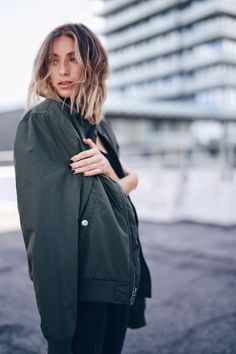@expresslife olive bomber jacket, blonde lob   THE AUGUST DIARIES
